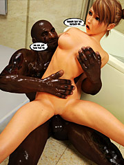 Big trouble in bathroom by Interracial sex 3d