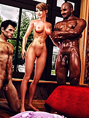 Cuckold husband initiation by Interracial sex 3d